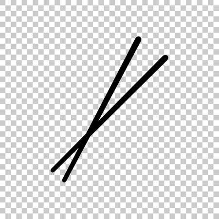 Couple chopsticks. Asian kitchen tools. Black symbol on transparent background