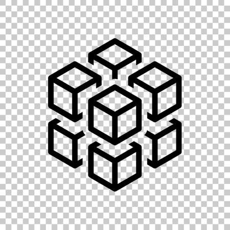 3d cube with eight blocks. Icon of rubik or ice pieces. Black symbol on transparent background