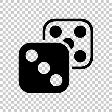 Pair of dice. Icon of azart games. Black symbol on transparent background
