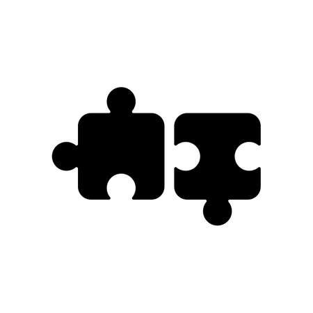 Two pieces of puzzle, creative teamwork, different solutions, logic game, simple icon. Black icon on white background