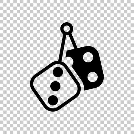 Dice amulet, Icon of casino games. Black symbol on transparent background Illustration
