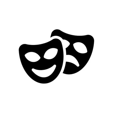 Smile and sad masks, comedy and drama theater, opposite emotions. Icon with happy and depressed faces. Black icon on white background