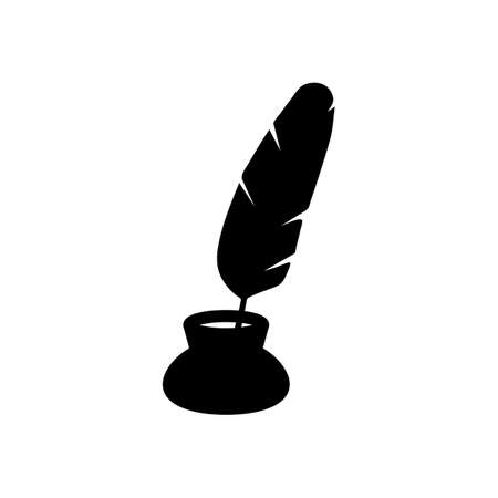 Ink and feather, sign of author. Simple icon. Black icon on white background