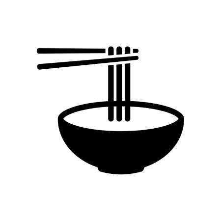 Noodles in bowl and chopstick, soup ramen, asian food, france pasta. Icon of kitchen. Black icon on white background Ilustrace