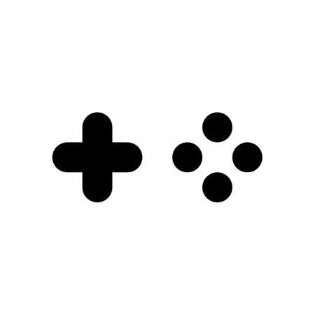 Logo of console or mobile game, controller or joystick, simple icon. Black icon on white background