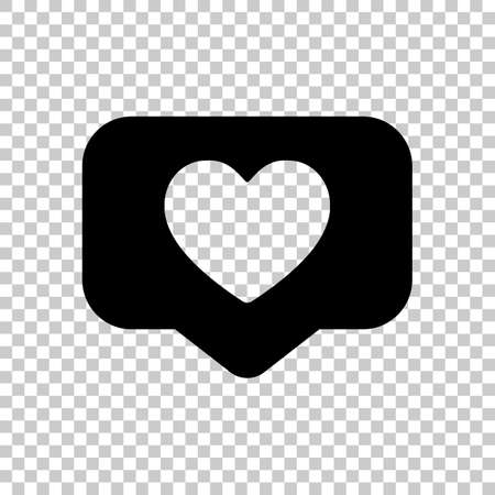 Like icon, heart in notification cloud, social symbol. Black symbol on transparent background