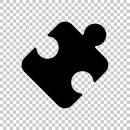 Piece of puzzle, sign of logic, simple icon. Black symbol on transparent background