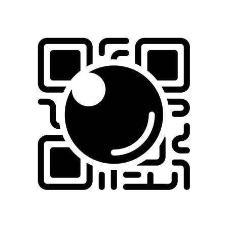 QR scanner, Scan by mobile camera, logo for app, icon with qrcode and lens. Black icon on white background Vectores