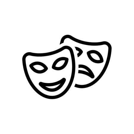 Smile and sad masks, comedy and drama theater, opposite emotions. Linear outline icon. Black icon on white background