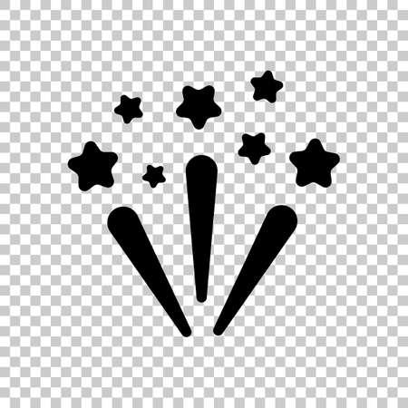 Fireworks with stars. Celebration icon. Black symbol on transparent background