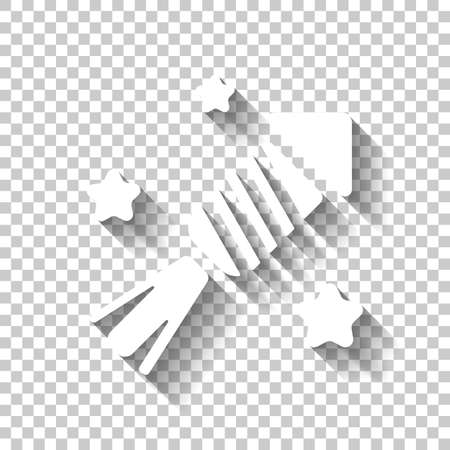 Fireworks rocket with stars. Celebrate icon. White icon with shadow on transparent background