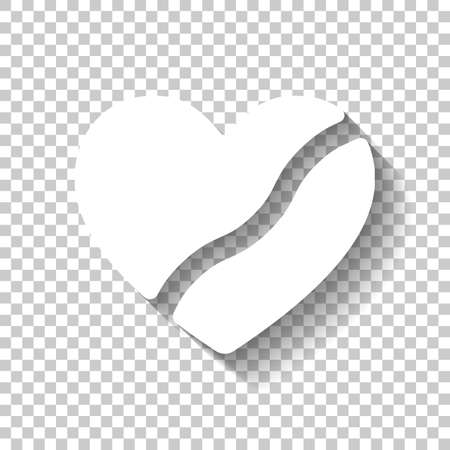 Broken heart, crack in relationship. Icon of divorce. White icon with shadow on transparent background