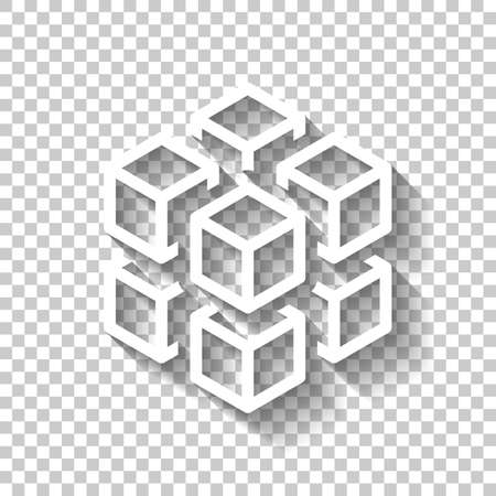 3d cube with eight blocks. Icon of rubik or ice pieces. White icon with shadow on transparent background