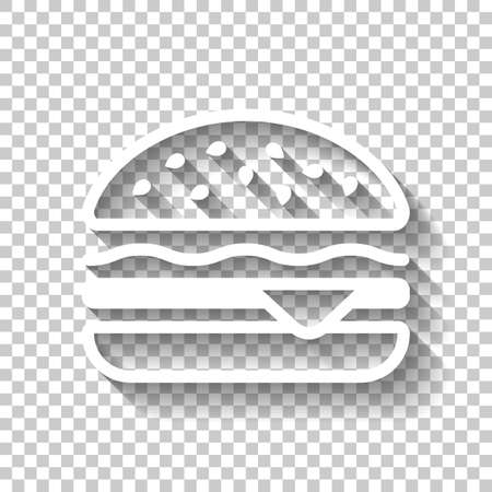 Hamburger icon. Fast food. Linear outline symbol. White icon with shadow on transparent background Ilustrace