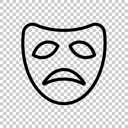 Sad mask of theatre, face with tragedy emotion, sign of drama. Linear outline icon. Black symbol on transparent background Illustration