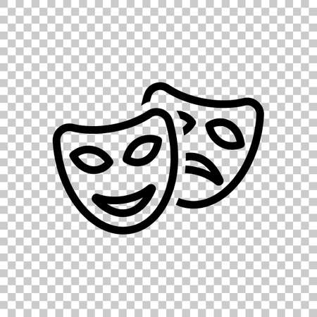 Smile and sad masks, comedy and drama theater, opposite emotions. Linear outline icon. Black symbol on transparent background