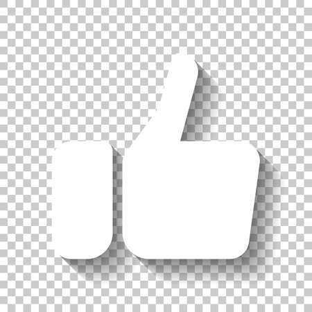 Hand with thumb up, like icon. White icon with shadow on transparent background