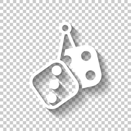Dice amulet, Icon of casino games. White icon with shadow on transparent background