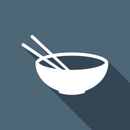 Bowl and couple of chopsticks. Asian icon. White flat icon with long shadow on blue background