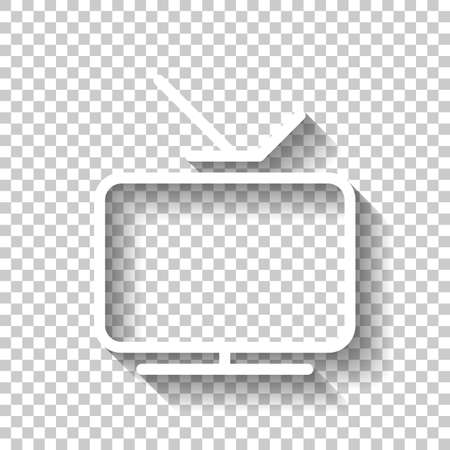 Smart TV, analog television. Linear outline icon of media. White icon with shadow on transparent background