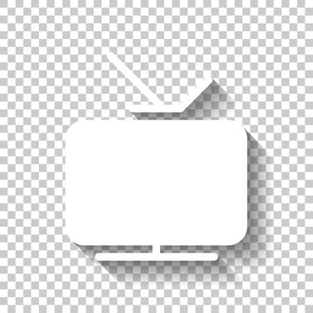 Smart TV, analog television. Icon of media. White icon with shadow on transparent background Illustration
