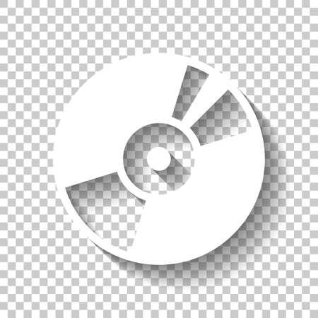 Vintage vinyl, audio disc, dj player. Simple icon, music logo. White icon with shadow on transparent background
