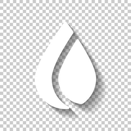 Simple flame. Nature icon. White icon with shadow on transparent background
