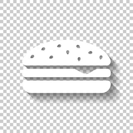 Hamburger icon. Fast food. White icon with shadow on transparent background Illusztráció
