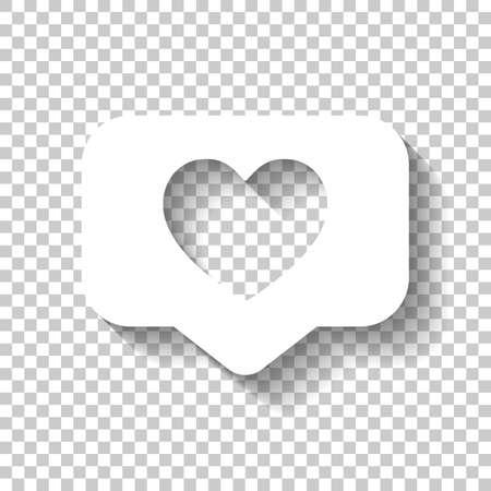 Comme icône, coeur dans le nuage de notification, symbole social. Icône blanche avec ombre sur fond transparent Vecteurs
