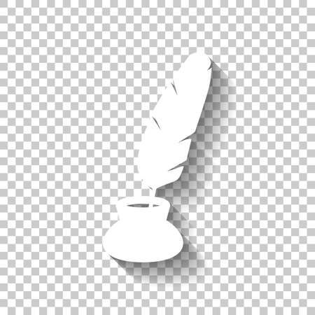 Ink and feather, sign of author. Simple icon. White icon with shadow on transparent background