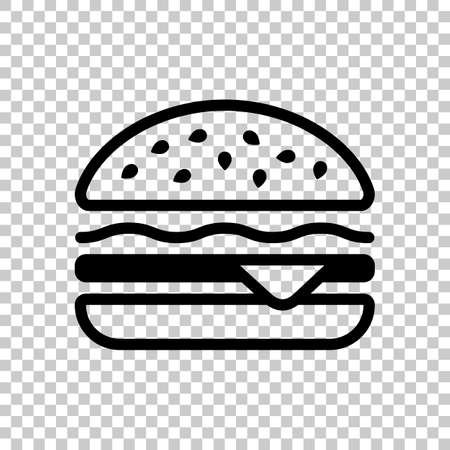Hamburger icon. Fast food. Linear outline symbol. Black symbol on transparent background