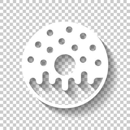 Donut, icon of food, top view. White icon with shadow on transparent background