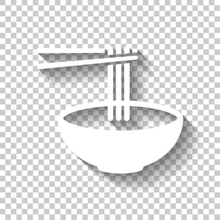 Noodles in bowl and chopstick, soup ramen, asian food, france pasta. Icon of kitchen. White icon with shadow on transparent background