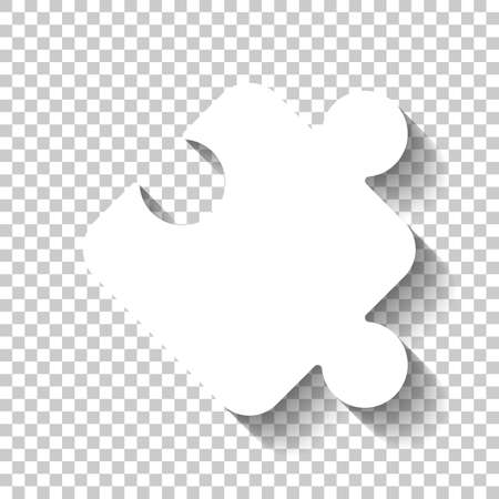 Piece of puzzle, sign of logic, simple icon. White icon with shadow on transparent background