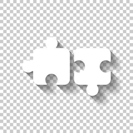 Two pieces of puzzle, creative teamwork, different solutions, logic game, simple icon. White icon with shadow on transparent background