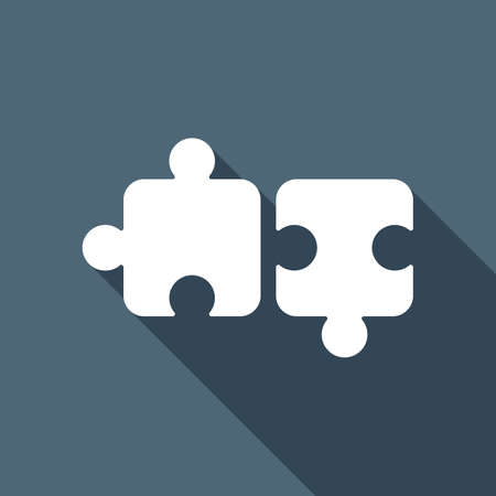 Two pieces of puzzle, creative teamwork, different solutions, logic game, simple icon. White flat icon with long shadow on blue background