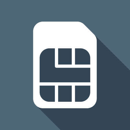 Electronic sim card, plastic mobile chip for cellphone. Simple icon. White flat icon with long shadow on blue background Vectores