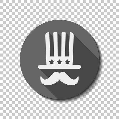 4 july, independence day. hat and mustache icon. flat icon, long shadow, circle, transparent grid. Badge or sticker style
