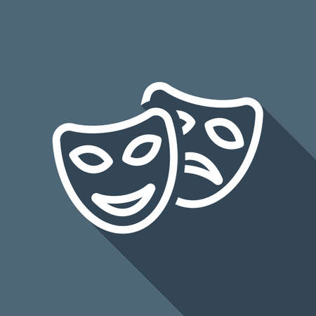 Smile and sad masks, comedy and drama theater, opposite emotions. Linear outline icon. White flat icon with long shadow on blue background Illustration