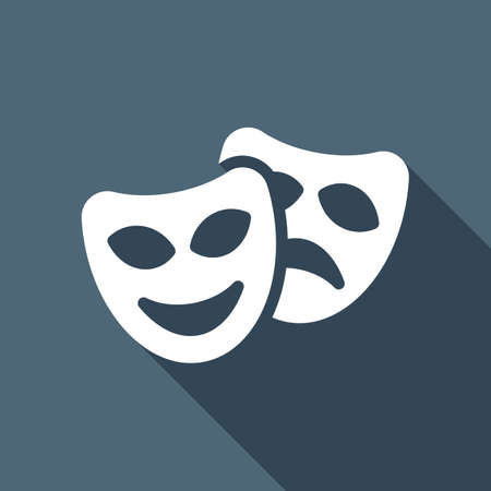 Smile and sad masks, comedy and drama theater, opposite emotions. Icon with happy and depressed faces. White flat icon with long shadow on blue background