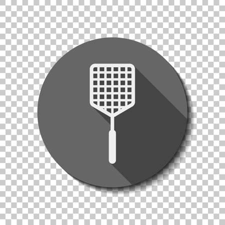 Fly swatter icon. flat icon, long shadow, circle, transparent grid. Badge or sticker style