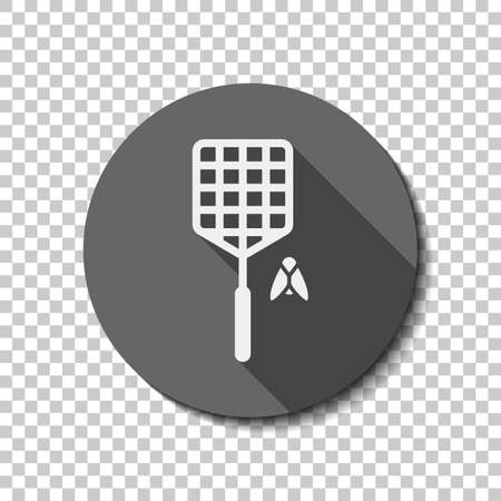 Fly swatter and insect. Simple icon. flat icon, long shadow, circle, transparent grid. Badge or sticker style Illustration
