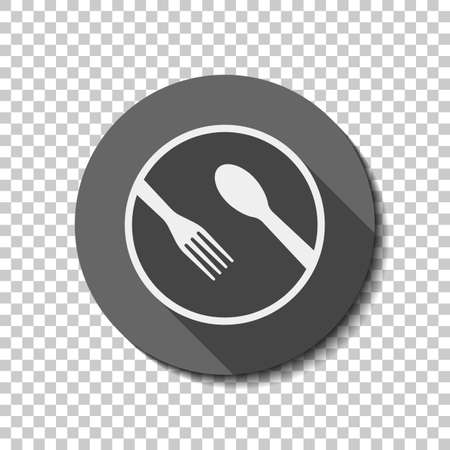 food tools. fork and spoon. flat icon, long shadow, circle, transparent grid. Badge or sticker style