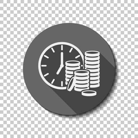Time is money. Clock and coin stack. Finance icon. flat icon, long shadow, circle, transparent grid. Badge or sticker style Illustration