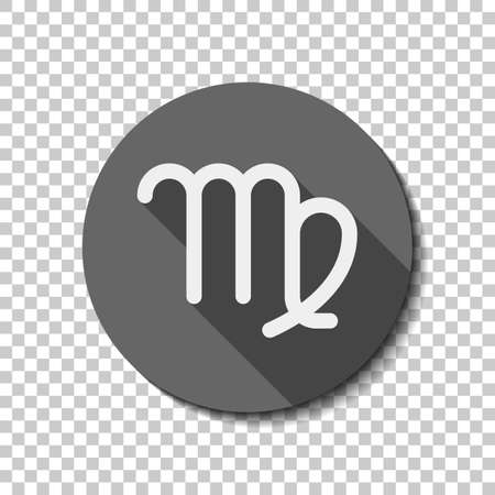 Astrological sign. Virgo simple icon. flat icon, long shadow, circle, transparent grid. Badge or sticker style