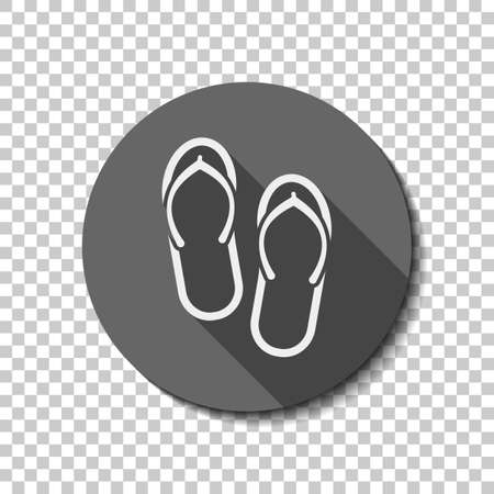 Beach slippers. Flip flops icon. flat icon, long shadow, circle, transparent grid. Badge or sticker style