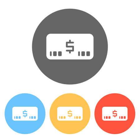 Money voutcher. USD Card icon. Set of white icons on colored circles