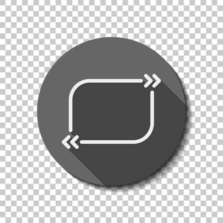 Text quote rectangle. Simple icon. flat icon, long shadow, circle, transparent grid. Badge or sticker style Ilustração
