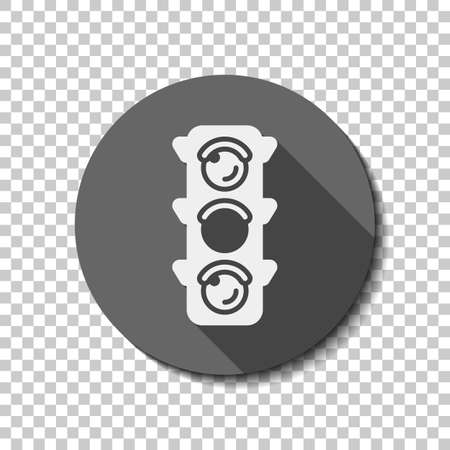 Traffic light icon. Sign of wait, yellow or ready. flat icon, long shadow, circle, transparent grid. Badge or sticker style