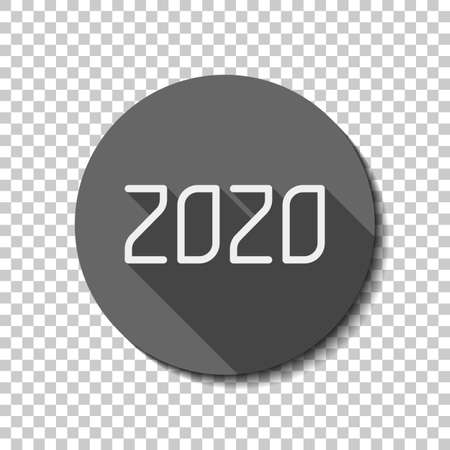 2020 number icon. Happy New Year. flat icon, long shadow, circle, transparent grid. Badge or sticker style